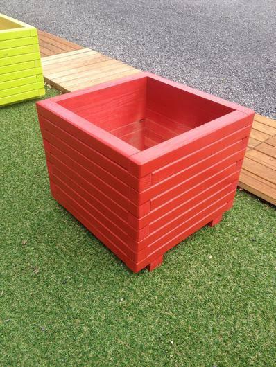 Jardini re 400x400 hauteur 39cm rouge carr potager for Jardiniere hauteur 1 metre